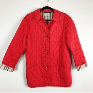 Burberry Red Quilted Jacket Nova Check